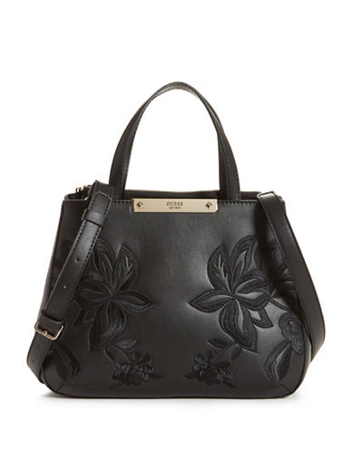 Guess Britta Small Society Satchel-BLACK-One Size