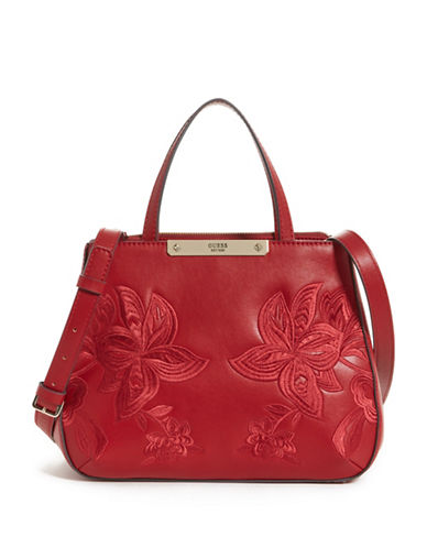Guess Britta Small Society Satchel-RED-One Size