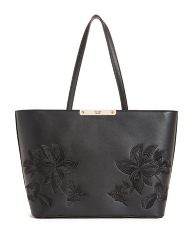 Guess Britta Embroidered Tote-BLACK-One Size