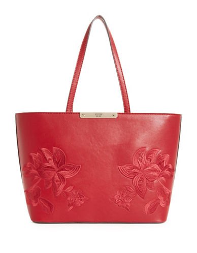 Guess Britta Embroidered Tote-RED-One Size