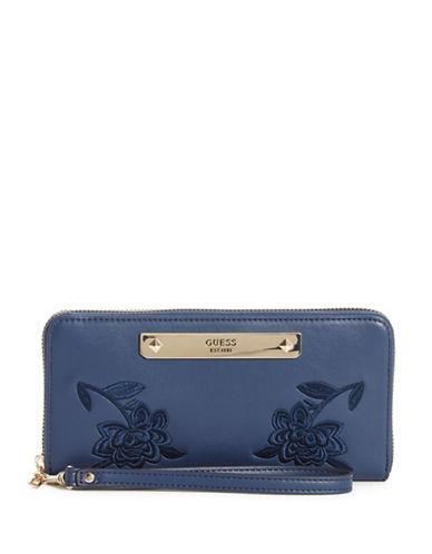 Guess Britta Zip-Around Wallet-BLUE-One Size