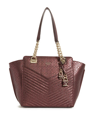 Guess Halley Quilted Shopper Bag-RED-One Size