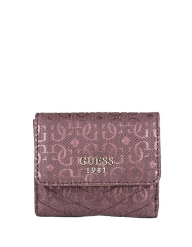 Guess Halley Faux Leather Coin Purse-RED-One Size