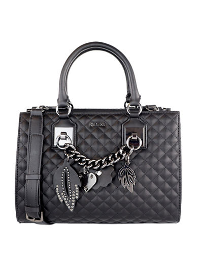 Guess Stassie Society Satchel-BLACK-One Size
