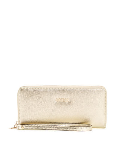 Guess Kinley Zip-Around Wallet-GOLD-One Size