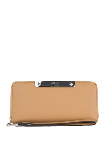 Guess Britta Faux Leather Continental Wallet-BEIGE-One Size