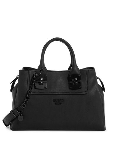 Guess Frankee Satchel Bag-BLACK-One Size