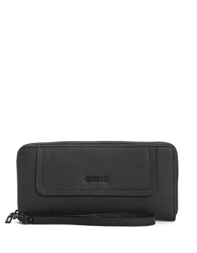 Guess Frankee Zip-Around Wallet-BLACK-One Size