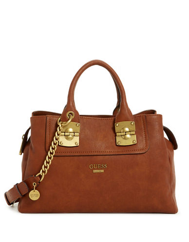 Guess Frankee Satchel Bag-COGNAC-One Size