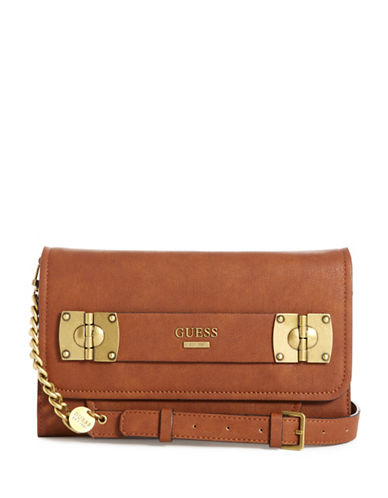 Guess Frankee Convertible Crossbody Bag-COGNAC-One Size
