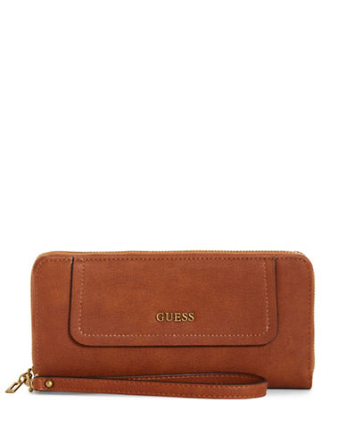 Guess Frankee Zip-Around Wallet-COGNAC-One Size