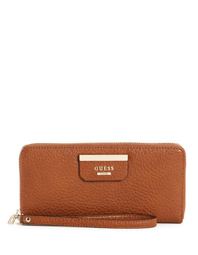 Guess Ryann Zip-Around Wallet-BROWN-One Size