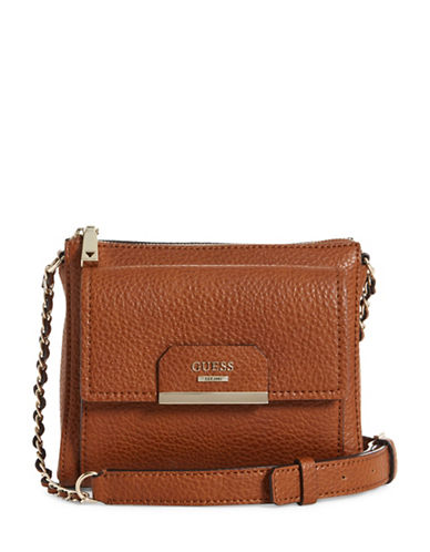 Guess Ryann Mini Crossbody Bag-BROWN-One Size
