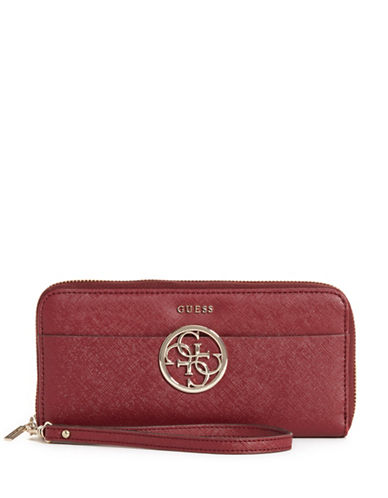 Guess Kamryn Saffiano Textured Wristlet-RED-One Size