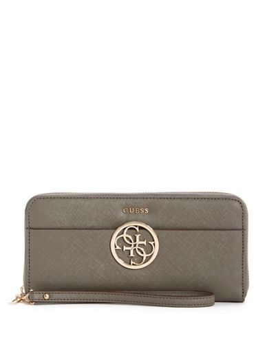 Guess Kamryn Saffiano Textured Wristlet-TAUPE-One Size