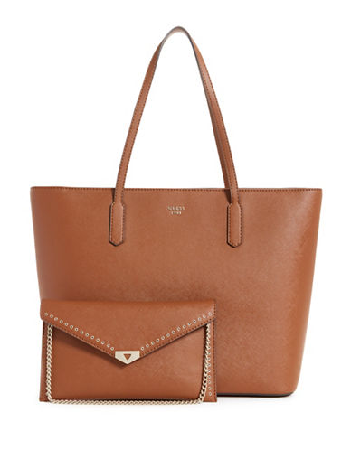 Guess Lottie Tote and Clutch-BROWN-One Size