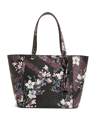 Guess Kamryn Floral Tote-PURPLE MULTI-One Size