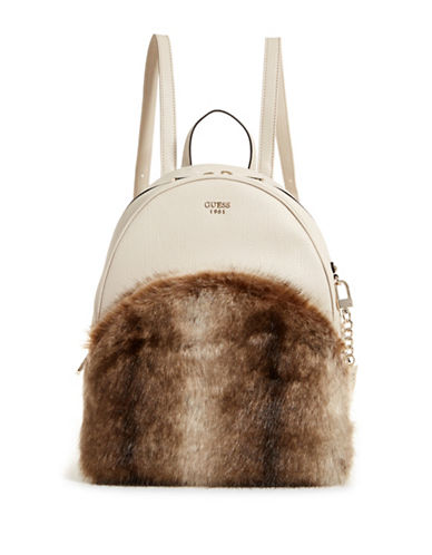 Guess Faux Fur Bradyn Backpack-NATURAL-One Size