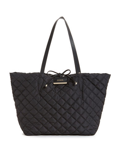 Guess Bobbi Inside Out Quilted Tote with Pouch-BLACK-One Size
