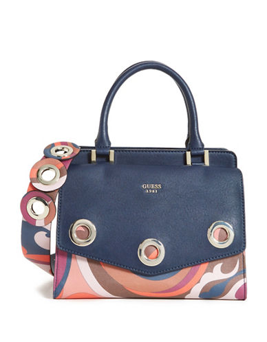 Guess Dinah Printed Satchel-GREY-One Size