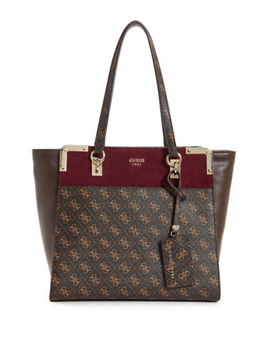 Guess Tepper Shopper Bag-BROWN-One Size