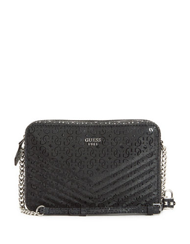 Guess Halley Quilted Crossbody Bag-BLACK-One Size