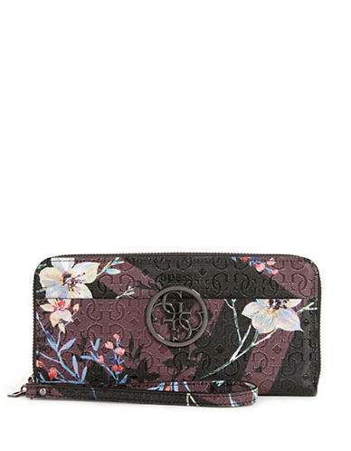 Guess Kamryn Floral Continental Wallet-PURPLE-One Size