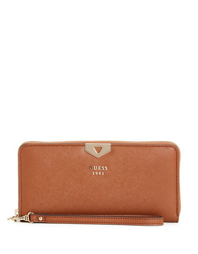 Guess Lottie Zip-Around Wallet-BROWN-One Size