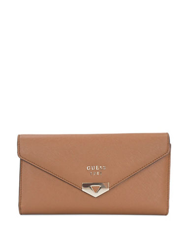 Guess Lottie Clutch-BROWN-One Size