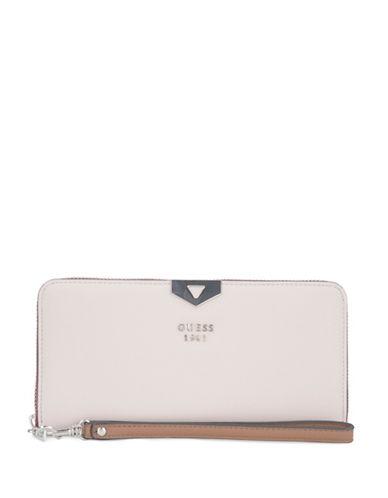 Guess Lottie Zip-Around Wallet-WHITE-One Size
