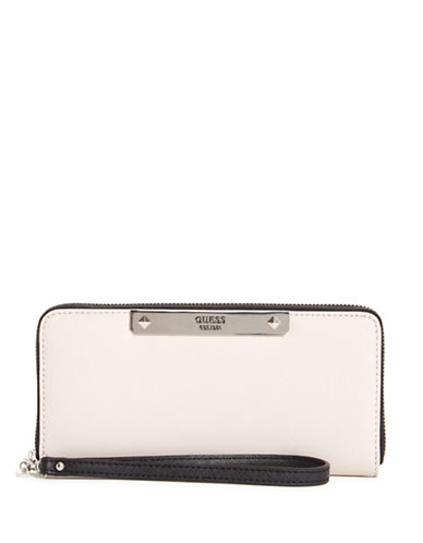 Guess Britta Faux Leather Continental Wallet-CREAM-One Size