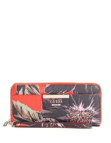Guess Floral Zip-Around Wallet-MULTI-One Size