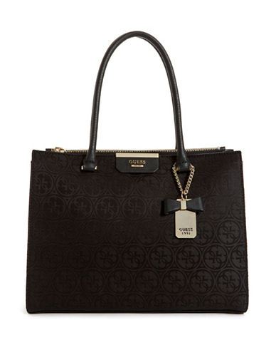 Guess Ryann Society Top Handle Bag-BLACK-One Size