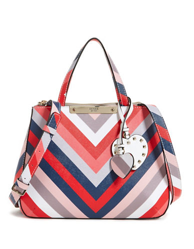Guess Britta Small Society Satchel-MULTI STRIPE-One Size