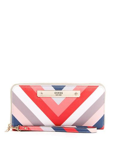 Guess Britta Chevron Striped Zip-Around Wallet-MULTI STRIPE-One Size