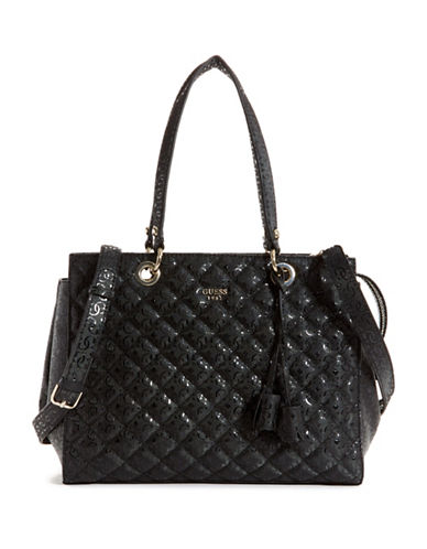 Guess Seraphina Large Satchel-BLACK-One Size