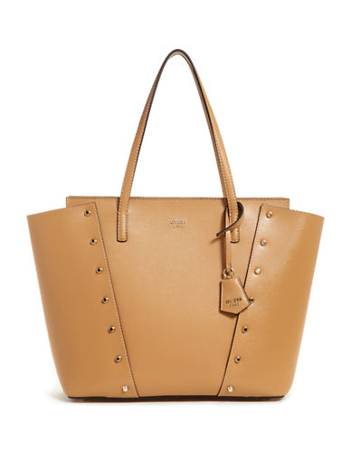Guess Kaia Studded Tote-TAN-One Size