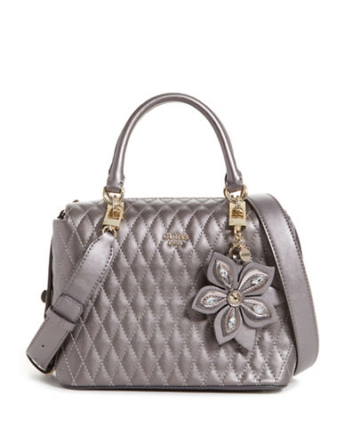Guess Sibyl Metallic Box Satchel-PEWTER-One Size