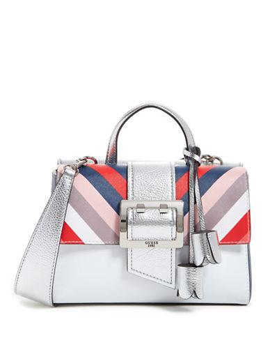 Guess Tori Metallic Shoulder Bag-BLUE-One Size