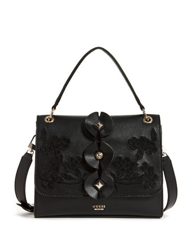 Guess Eden Embroidered Satchel-BLACK-One Size