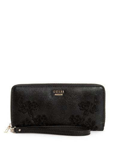 Guess Eden Zip-Around Wallet-BLACK-One Size