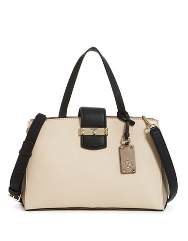 Guess Arden Zip Satchel-STONE-One Size