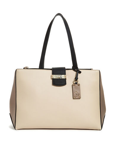 Guess Arden Society Top Handle Bag-STONE-One Size