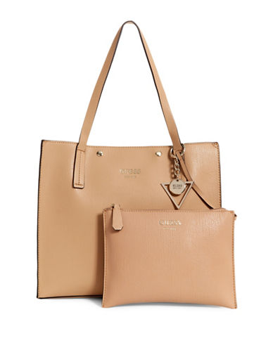 Guess Kinley Faux Leather Carryall-TAN-One Size