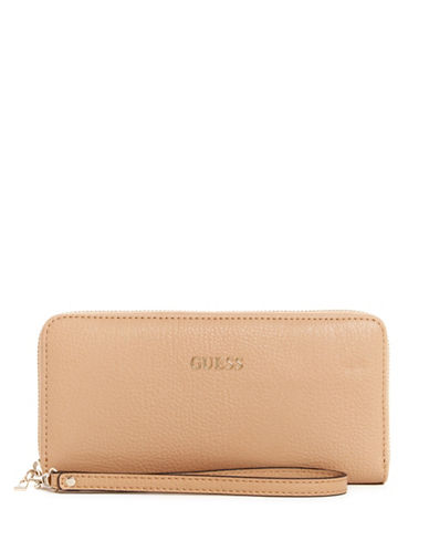 Guess Kinley Faux Leather Continental Wallet-TAN-One Size