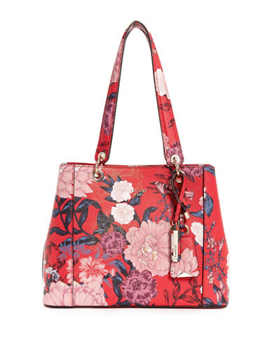 Guess Kamryn Floral Tote-RED-One Size