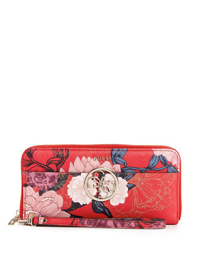 Guess Kamryn Floral Zip-Around Wallet-RED-One Size