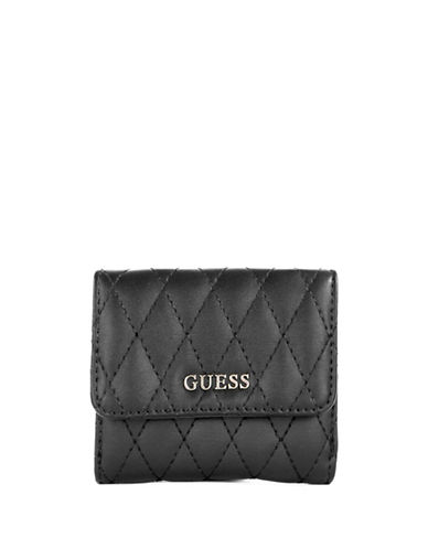 Guess Quilted Card and Coin Purse-BLACK-One Size