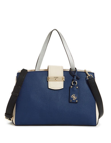 Guess Arden Colourblock Satchel-BLUE-One Size