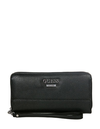 Guess Edmore Faux Leather Zip-Around Wallet-BLACK-One Size
